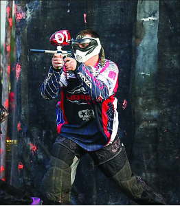 TEAM — College-level paintball plays class A or AA games.