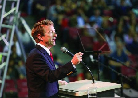 inspiration— Sen. Rand Paul encouraged students to defend American liberty despite the cost. Photo credit: Ruth Bibby