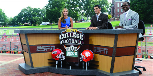 "on Camera — Ponder hosts ""College Football Live"" at Clemson with David Pollack (middle) and Desmond Howard (right). Photo provided"