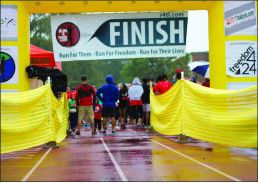 Victory — The finish line was located at Lynchburg College. Photo credit: Sam Chappell