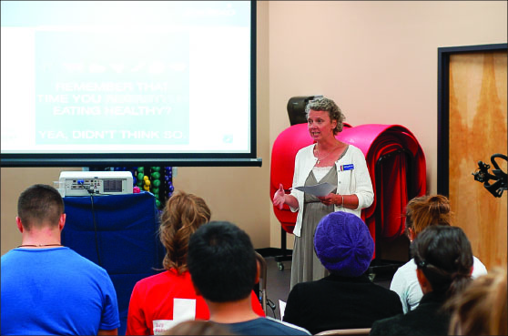 """KNOWLEDGE IS POWER - The seminar, entitled """"Why weight: Food for Fitness,"""" informed students about healthy eating habits. Photo credit: Macklyn Mosley"""