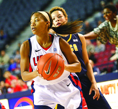 KEY CONTRIBUTOR - Sadalia Ellis had a career night in her first start at Liberty