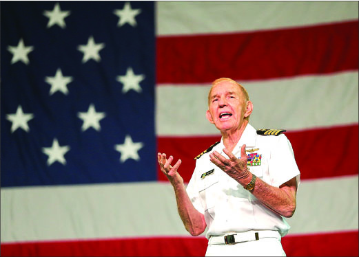 patriotic — Capt. Coffee, a decorated veteran who served more than 27 years in the military, shares his story of faith. Photo credit: Ruth Bibby