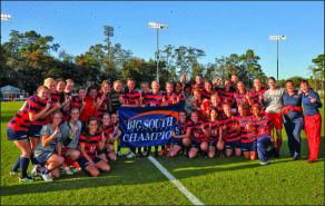 champions — Liberty celebrates its fourth Big South title. Photo provided
