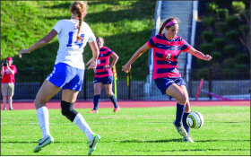 key effort — Forward Geena Swentik provided a spark off the bench in the Lady Flames 1-0 win against the Blue Hose.  Photo credit: Leah Stauffer