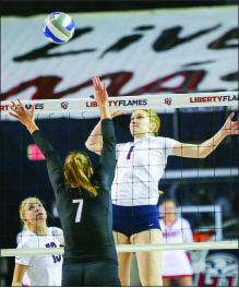 SPIKE — The Lady Flames took full advantage of senior night, defeating the Fighting Camels 3-0. Photo credit: Ruth Bibby