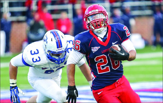 RUNNING DOWN A DREAM — Rice has run for a team-leading 12 touchdowns and 881 yards this season. Photo credit: Ruth Bibby