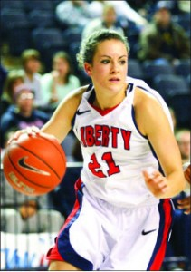 FACILITATOR — Emily Frazier led the Lady Flames in assists last season despite missing the final eight games. Photo credit: Ruth Bibby