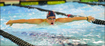 breaststroke — Liberty splits two meets over the weekend.  Photo credit: Ruth Bibby