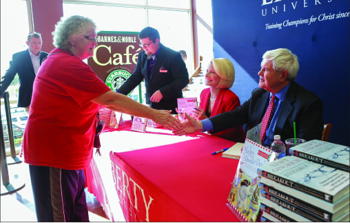 "Meet — Newt and Callista drew a large crowd Nov. 2 to sign their new books, ""Breakout"" and ""Sweet Land of Liberty."" Photo credit: Ruth Bibby"
