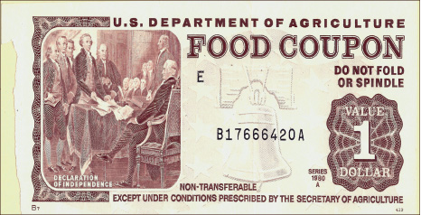 Vintage — Food stamps have evolved from traditional paper stamps to electronic banking cards.  Google Images