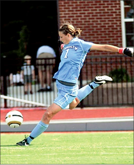 zilch — goalkeeper Holly Van Noord clears the ball out of Liberty territory. Photo provided