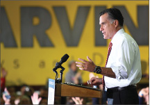 Mitt Romney addresses the crowd at a 2012 Presidential Campaign Rally