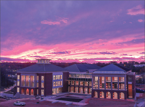 The sun sets over the new Jerry Falwell Library