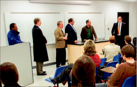 WINDOWS — Microsoft employees answered questions from upper-level business students looking to find a job. Photo provided