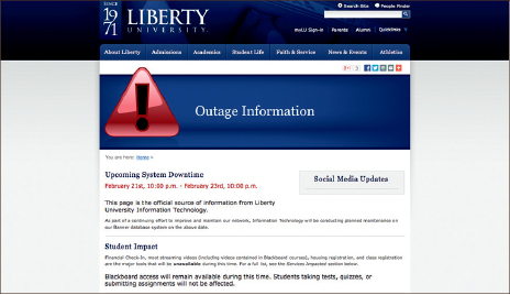 network — Students and faculty are warned that IT is still working on the Blackboard problem. Screen shot