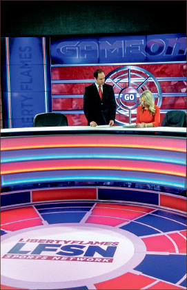 national — Liberty's sports network now has a daily show. Photo credit: Derrick Battle