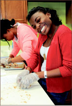 Yum — Students learned to cook. Photo credit: Amber Lachniet