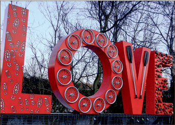 adventure — Lynchburg's LOVE sculpture is part of the Virginia is For Lovers Campaign and is one of 22 similar works of art in the state. Photo credit: Danae Samms