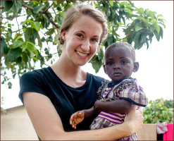 LOVE — Brianna Nissen spent time with a child in Ghana. Photo provided
