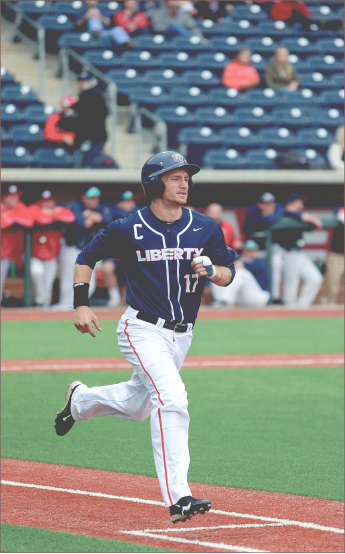 FlAME TRAIN — Ashton Perritt collected two hits and two RBIs during the  weekend's Liberty University Invitational. Photo credit: Courtney Russo