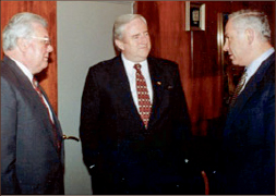 Falwell meets with Duke Westover (left) and Israeli Prime Minister Benjamin  Netanyahu (right).
