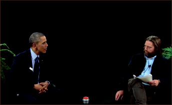 Between TWO Ferns — Obama and Galifianakis discuss politics in a six-minute comedy sketch. YouTube Screenshot