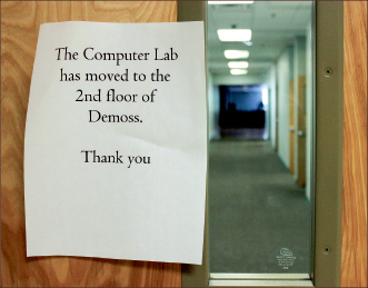 VACANT — The third-floor computer lab has been closed and emptied. Photo credit: James Ebrahim