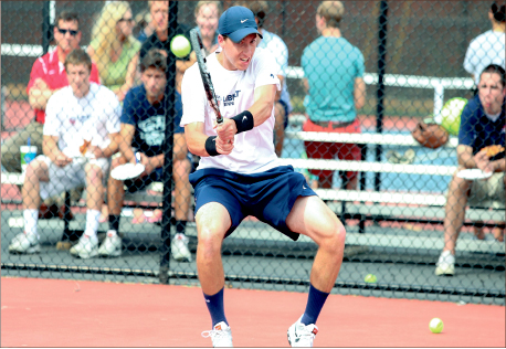 backhand — Shea Thomas is one of the most successful tennis players in Flames singles history and hopes to continue his career professionally after graduation. Photo credit: Leah Stauffer