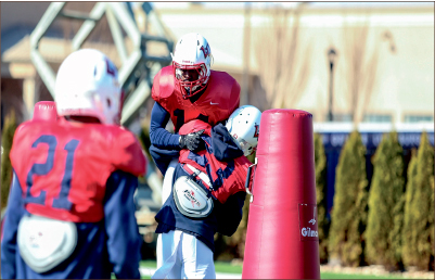 Getting started — Liberty opened up spring practice March 19 in preparation for the season in August. Photo credit: Leah Stauffer