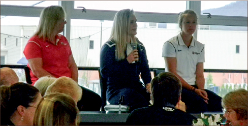 DISCUSSION — Softball Coach Dot Richardson and players Kelby Allen and Katie Zavodny talked about their season. Photo credit: Danae Samms