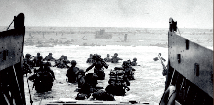 INVASION — American soldiers stormed the shorelines of Normandy Tuesday, June 6, 1944, ready to bring an end to Adolf Hitler's reign of terror.  Google Images