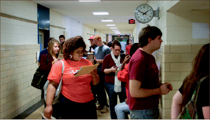 Civil right — Before the precinct moved to campus, students stood in long lines to vote. Photo credit: Ruth Bibby