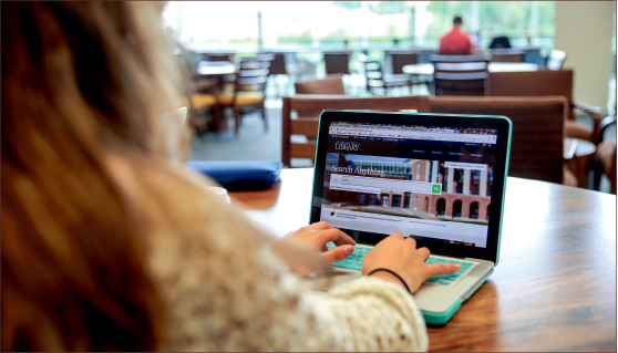 REDESIGN — The new Jerry Falwell Library website includes search functions designed to streamline the research process. Photo credit: Courtney russo