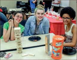 GAME — Students enjoy fellowship and food at Mu Kappa event. Photo credit: Ash Brownd