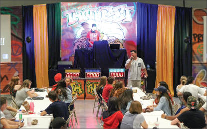 think — Students had to be quick in order to advance in the ThinkFast Game Show over the weekend. Photo credit: Kari Moye