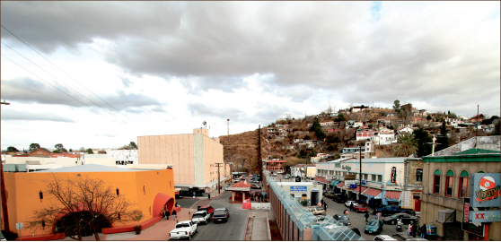BORDERLINE —  United States Border Patrol fence dividing Nogales, Arizona to the left and Nogales, Sonora to the right. Google Images