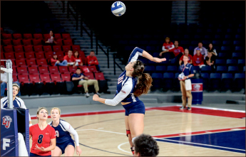 DOMINATe — Caroline Douglas leads the Lady Flames with 442 kills.   Photo credit: Courtney Russo