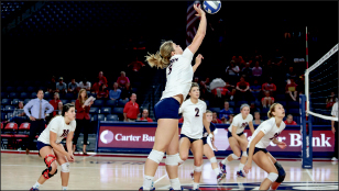 set up — Hannah Weidner (5) leads all Big South freshman in kills. Photo credit: Courtney Russo