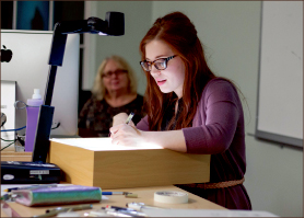 design — Kelsey Phillips demonstrated hand lettering techniques. Photo credit: Dale Carty