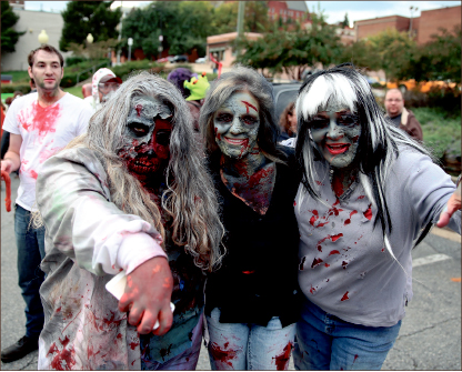 undead — Zombies and other creative costumes invaded downtown Lynchburg over the weekend. Photo credit: Courtney Russo