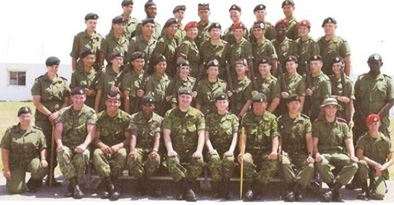 Company A — Cpl. Nathan Cirillo is seated in the front row, third from the left. Directly behind him is Liberty alumna Rebecca Noble. Photo provided