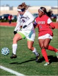 Touch — Alanna Dunkle (24) notched an assist against Radford.  Photo credit: Leah Seavers