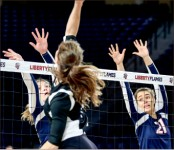 BLOCK — The Lady Flames have dominated Big South foes, losing only nine sets. Photo credit: Courtney Russo
