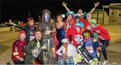 Characters — President Jerry Falwell and Becki Falwell dressed as William Wallace and Princess Isabella from the movie Braveheart and were accompanied by students at the race.  Photo credit: Les Schofer