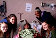 reCovery — Friends visit Kung Jin Oh at the hospital as her health restores. Photo provided