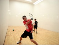 FOCUS — A student duels with Thomas Road Baptist Church worship pastor Charles Billingsley in racquetball.  Photo credit; Courtney Russo