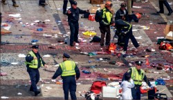catastrophe — Emergency responders rushed to the scene of the April 2013 marathon bombing. Google Images