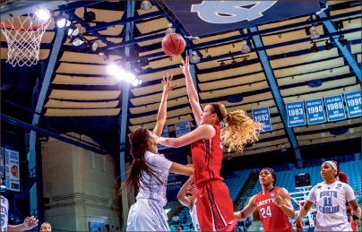 Haunting the Heels — Redshirt junior Ashley Rinninger led all scorers with 19 points. Photo credit: Kevin Manguiob