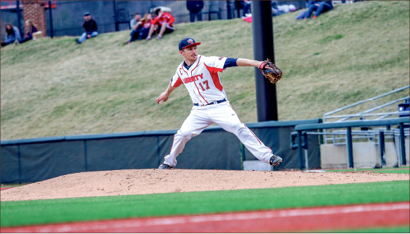 Mr. Versatility — Senior Ashton Perritt helped the Flames in the field and on the mound during their weekend series against Presbyterian.  Photo credit: Leah Seavers